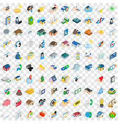 100 insurance icons set isometric 3d style vector