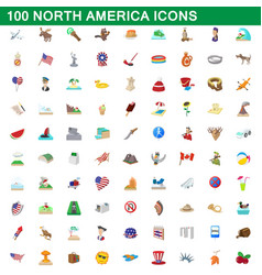100 north america icons set cartoon style vector