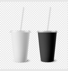 3d realistic white black paper disposable vector