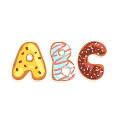 abc cookie alphabet letters sweet glazed baking vector image