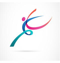 Abstract human figure logo design gym fitness vector