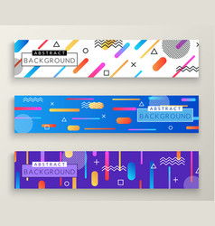 Abstract memphis style retro horizontal banners vector