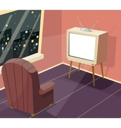 Armchair in front of TV Icon on Room Window Night vector