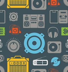 Audio equipment icons color seamless pattern vector image