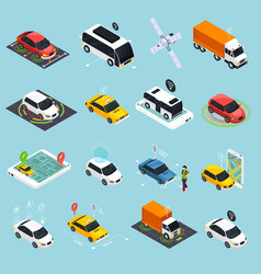 Autonomous vehicle isometric icons set vector