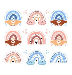 barainbow set cute rainbows for boys vector image