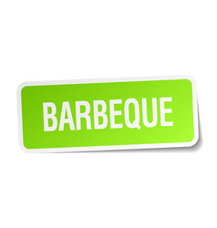 Barbeque green square sticker on white background vector
