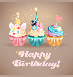 Birthday card with cute cupcake and sparkle vector