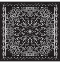 Black and white Bandana print design with borders vector