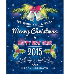 blue christmas card with decorative ornament vector image