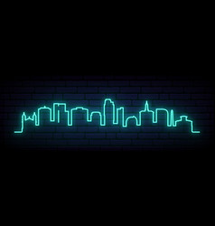 blue neon skyline san jose bright san jose vector image