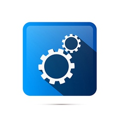 Blue Square Cogs Gears Icon vector