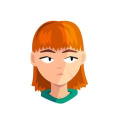 Bored redhead girl female emotional face avatar vector