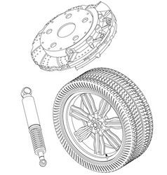 Brake disc wheel and shock absorber on a white vector