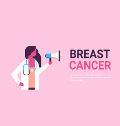 Breast cancer day female doctor holding vector