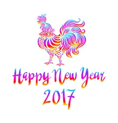 Bright Rainbow Colored rooster symbol of 2017 on vector