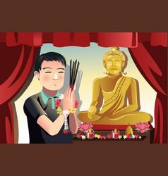 Buddhist man vector