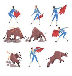 Bullfighting set toreador fighting with furious vector