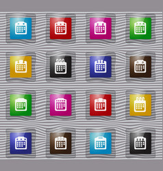 calendar glass icons set vector image