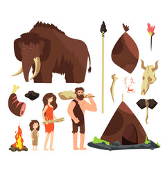 Caveman cartoon neolithic people characters vector