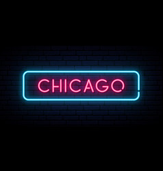chicago neon sign bright light signboard banner vector image