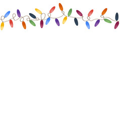 Christmas garland with multicolored bulbs vector