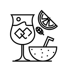 cocktail bar line icon concept sign outline vector image