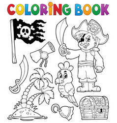coloring book pirate thematics 1 vector image