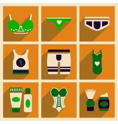 Concept of flat icons with long shadow Underwear vector