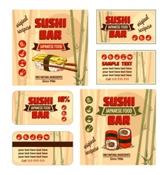 corporate identity for sushi bar vector image vector image