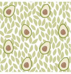 Cute avocado and leaves with white pattern vector