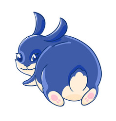Cute playful blue rabbit looks back vector
