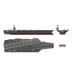 Detailed image aircraft carrier military ship vector