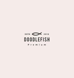 Doodle fish logo icon vector