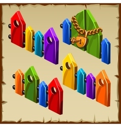 Elements of the wooden colorfull fence rainbow vector