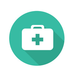 first aid kit flat design long shadow icon vector image
