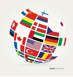 flags world in globe vector image