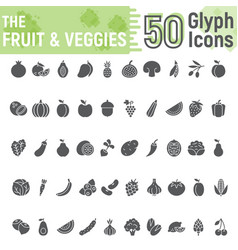Fruit and vegetables glyph icon set vegetarian vector