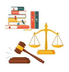 Gavel scales law books icon set judge lawyer vector