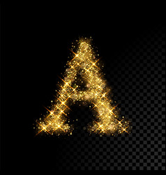 Gold glittering letter a on black background vector