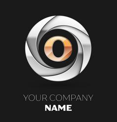 golden letter o logo symbol in the circle shape vector image