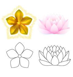 golden metal pattern flower pink lotus vector image