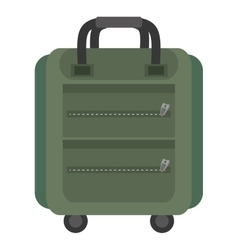 Green suitcase packback travel bag tourist vector