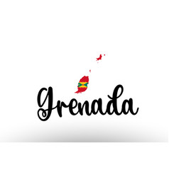 Grenada country big text with flag inside map vector