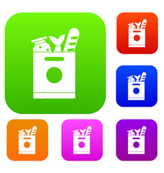 grocery bag with food set collection vector image