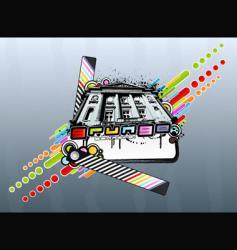 Grunge rainbow palace vector