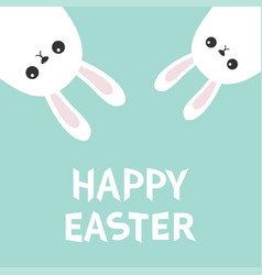 Happy easter two white bunny rabbit hanging vector