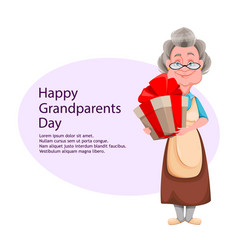 Happy grandparents day cheerful grandmother vector