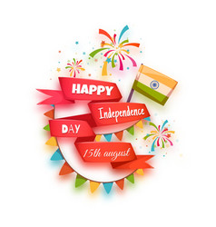 Happy independence day banner India Red ribbon vector image
