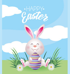 happy rabbit with easter egg decoration vector image